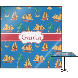 Boats & Palm Trees Square Table Top (Personalized)