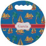Boats & Palm Trees Stadium Cushion (Round) (Personalized)