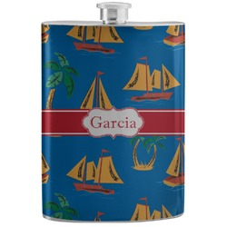 Boats & Palm Trees Stainless Steel Flask (Personalized)
