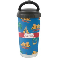 Boats & Palm Trees Stainless Steel Travel Mug (Personalized)