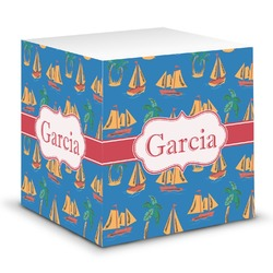 Boats & Palm Trees Sticky Note Cube (Personalized)
