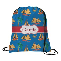 Boats & Palm Trees Drawstring Backpack (Personalized)