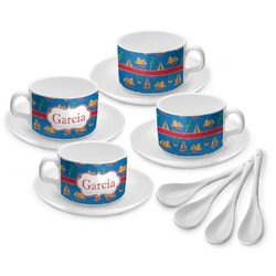 Boats & Palm Trees Tea Cup - Set of 4 (Personalized)