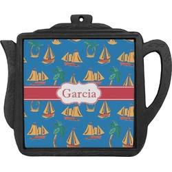 Boats & Palm Trees Teapot Trivet (Personalized)