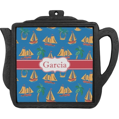 Boats & Palm Trees Teapot Trivet (Personalized)