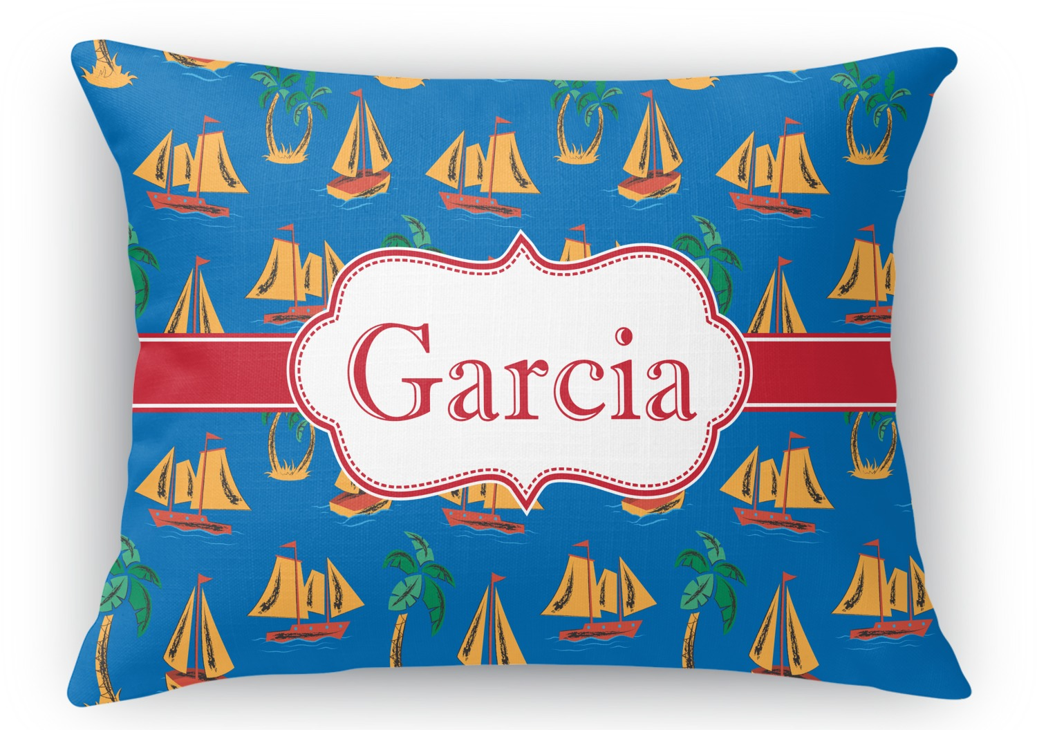 Rectangular Throw Pillow Dimensions : Boats & Palm Trees Rectangular Throw Pillow - 18