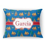 Boats & Palm Trees Rectangular Throw Pillow Case (Personalized)