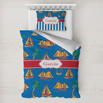 Boats & Palm Trees Toddler Bedding w/ Name or Text