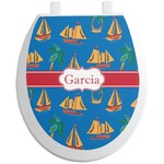Boats & Palm Trees Toilet Seat Decal (Personalized)