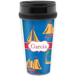 Boats & Palm Trees Travel Mug (Personalized)