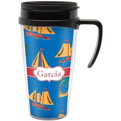 Boats & Palm Trees Travel Mug with Handle (Personalized)