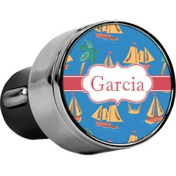 Boats & Palm Trees USB Car Charger (Personalized)