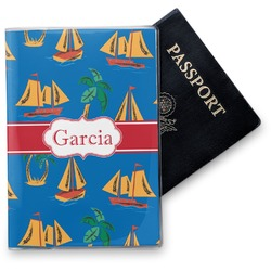 Boats & Palm Trees Vinyl Passport Holder (Personalized)