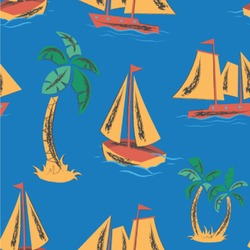 Boats & Palm Trees Wallpaper & Surface Covering