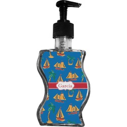 Boats & Palm Trees Wave Bottle Soap / Lotion Dispenser (Personalized)