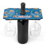 Boats & Palm Trees Wine Bottle & Glass Holder (Personalized)