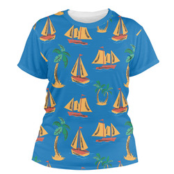 Boats & Palm Trees Women's Crew T-Shirt (Personalized)