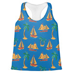 Boats & Palm Trees Womens Racerback Tank Top (Personalized)