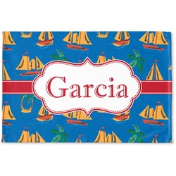 Boats & Palm Trees Woven Mat (Personalized)