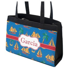 Boats & Palm Trees Zippered Everyday Tote (Personalized)