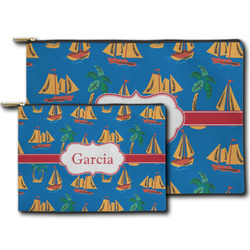 Boats & Palm Trees Zipper Pouch (Personalized)