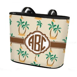 Palm Trees Bucket Tote w/ Genuine Leather Trim (Personalized)