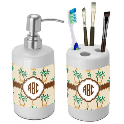 Palm Trees Bathroom Accessories Set (Ceramic) (Personalized)
