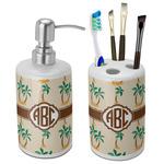 Palm Trees Ceramic Bathroom Accessories Set (Personalized)