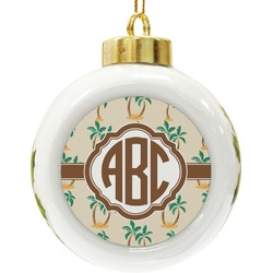 Palm Trees Ceramic Ball Ornament (Personalized)
