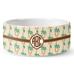 Palm Trees Ceramic Dog Bowl (Personalized)