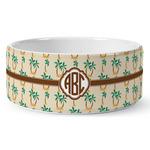 Palm Trees Ceramic Dog Bowl (Personalized)