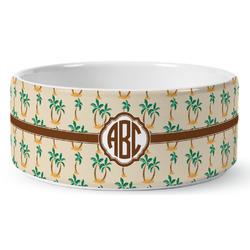 Palm Trees Ceramic Pet Bowl (Personalized)