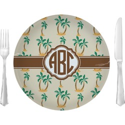 """Palm Trees Glass Lunch / Dinner Plates 10"""" - Single or Set (Personalized)"""