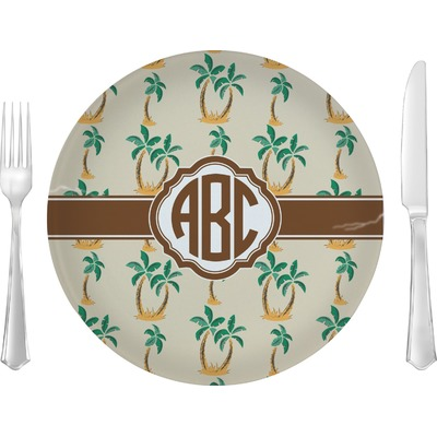 """Palm Trees 10"""" Glass Lunch / Dinner Plates - Single or Set (Personalized)"""