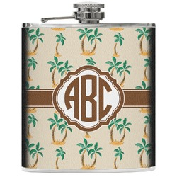 Palm Trees Genuine Leather Flask (Personalized)