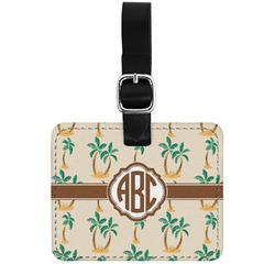 Palm Trees Genuine Leather Luggage Tag w/ Monogram