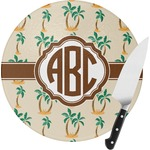 Palm Trees Round Glass Cutting Board (Personalized)