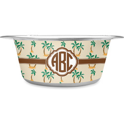 Palm Trees Stainless Steel Dog Bowl (Personalized)