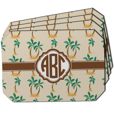 Palm Trees Dining Table Mat - Octagon w/ Monogram