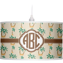 Palm Trees Drum Pendant Lamp Linen (Personalized)