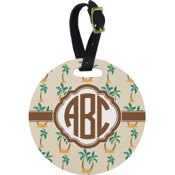 Palm Trees Round Luggage Tag (Personalized)