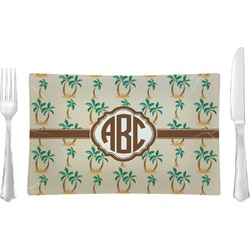 Palm Trees Glass Rectangular Lunch / Dinner Plate - Single or Set (Personalized)
