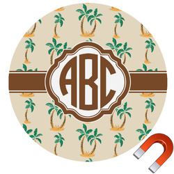 Palm Trees Round Car Magnet (Personalized)