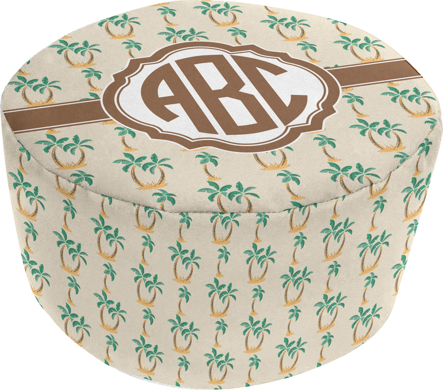 palm trees round pouf ottoman personalized youcustomizeit. Black Bedroom Furniture Sets. Home Design Ideas