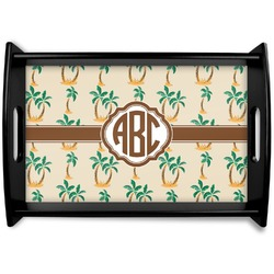 Palm Trees Black Wooden Tray (Personalized)