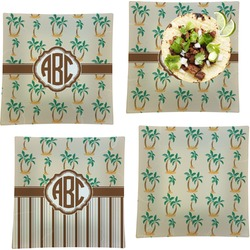 """Palm Trees Set of 4 Glass Square Lunch / Dinner Plate 9.5"""" (Personalized)"""