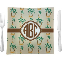 "Palm Trees Glass Square Lunch / Dinner Plate 9.5"" - Single or Set of 4 (Personalized)"