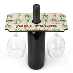 Palm Trees Wine Bottle & Glass Holder (Personalized)