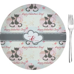"""Cats in Love Glass Appetizer / Dessert Plates 8"""" - Single or Set (Personalized)"""