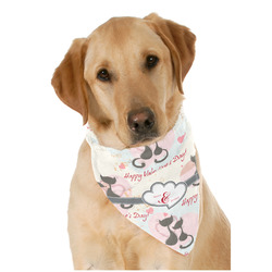 Cats in Love Dog Bandana Scarf w/ Couple's Names